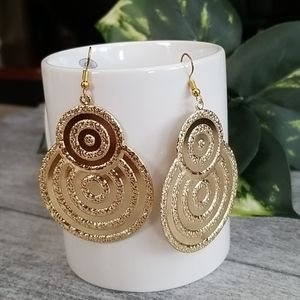 ZAD gold textured double circle dangle earrings